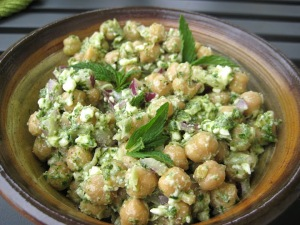 chickpea salad with mint sorrel pesto